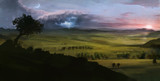 digital painting grassland with thunder sunrise and moon night