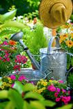 Gartenszene mit Gießkanne