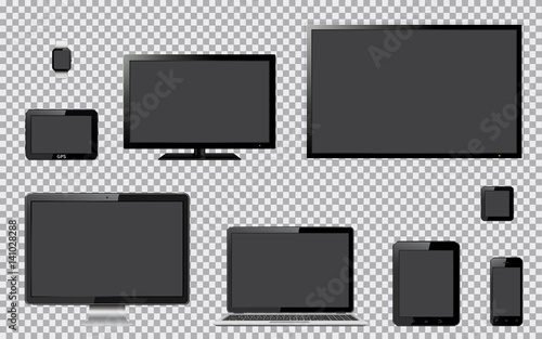 Set of realistic TV, computer monitor, laptop, tablet, mobile phone, smart watch and GPS navigation system device with transparent screen. Isolated on transparent background.