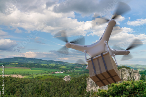 Flying drone is delivering a package. 3D rendered illustration of drone.