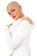 Young beautifil skinhead woman over white background