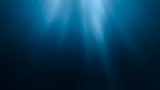 3D rendered illustration of sun rays under water. Undersea background.
