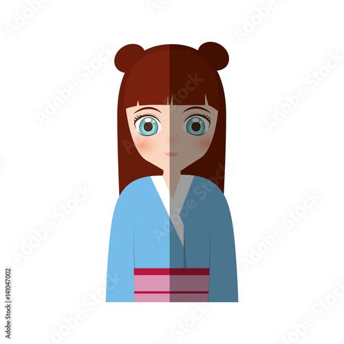 cute girl japanese manga - shadow vector illustration eps 10 - 141047002