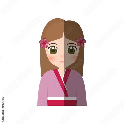 cute girl japanese manga - shadow vector illustration eps 10 - 141047016