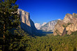 Entrance to Yosemite Valley. El Capitan, Bridal Veil Falls and Half Dome are in view.