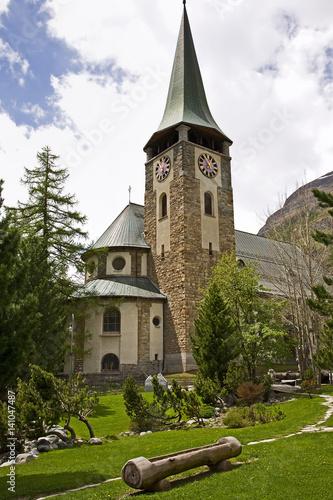 Poster Church at the center of Zermatt
