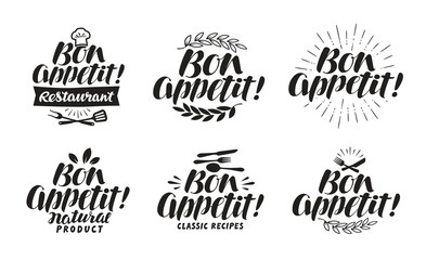 Bon appetit, label. Lettering for menu design restaurant or cafe. Vector illustration
