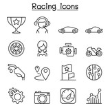 Racing icon set in thin line style