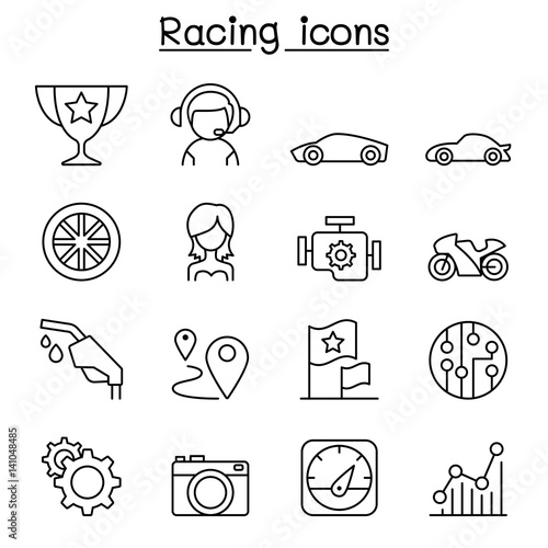Foto Spatwand F1 Racing icon set in thin line style