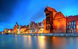 Gdańsk widok miejski o zmierzchu