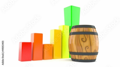 Cask with chart isolated on white background