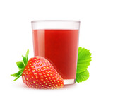 Isolated strawberry juice. Glass of fresh strawberry drink isolated on white background with clipping path
