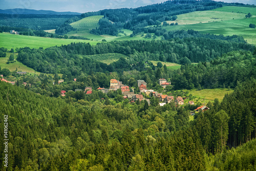 aerial view of town in the mountain
