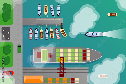 Foto op Plexiglas Op straat Dockyard harbor terminal aerial top view with cargo ship and ocean boats vector illustration