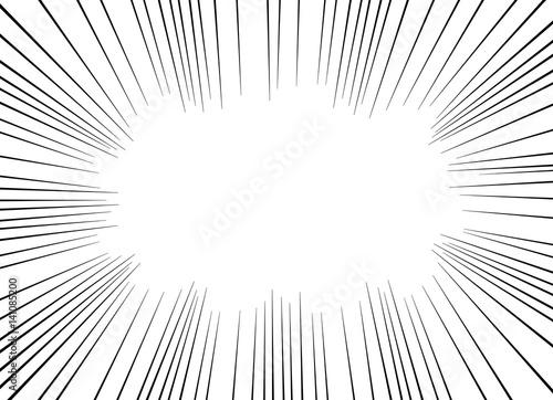 漫画・コミック風集中線フレーム 白背景 コピースペース 長方形 - 141085200