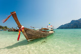 Long tail boat clear sea blue sky floating
