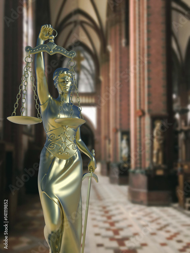 Sinful church conceptual idea with Lady of justice Poster