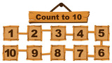 Counting number one to ten on wooden boards