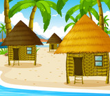 Three wooden cottages on the beach
