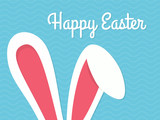 Fototapety Greeting card with with white Easter rabbit. Funny bunny. Easter Bunny.