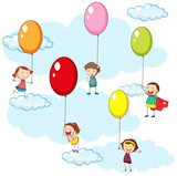 Kids and colorful balloons in sky