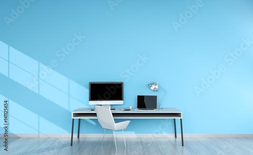 Modern blue desktop interior with devices 3D rendering
