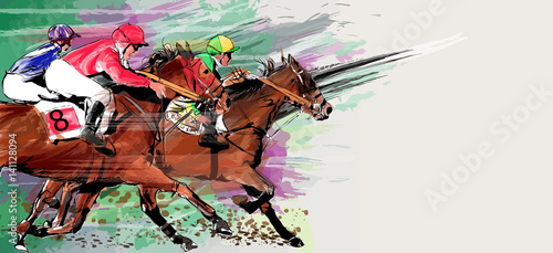 Tuinposter Art Studio Horse racing over grunge background