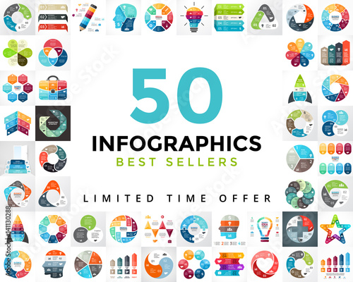 Vector circle infographics set. 50 best seller. Business diagrams, arrows graphs, startup logo presentations and idea charts. Data options, parts, 3, 4, 5, 6, 7, 8 steps or processes.