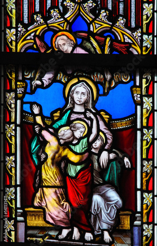Stained Glass - Saint Sophia the Martyr and her three daughters Poster
