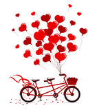 Tandem Bike with hearts balloons in red colors isolated vector illustration