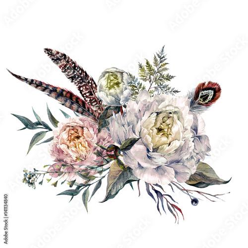 Watercolor Peonies Boho Bouquet - 141134840