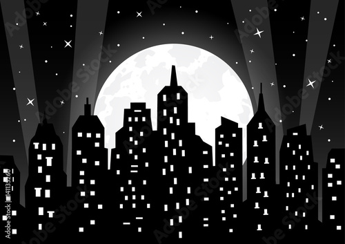 Moonlight over night city vector illustration