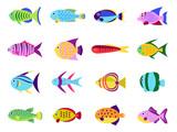Cute fish vector set