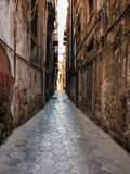 narrow street with stone pavement in Palermo