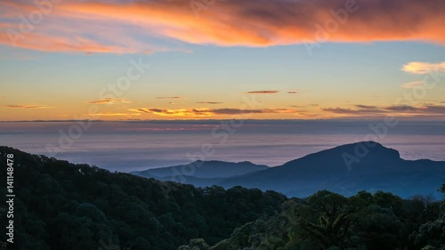 Sunrise timelapse at tropical forest and mountain landscape, 4K Time lapse