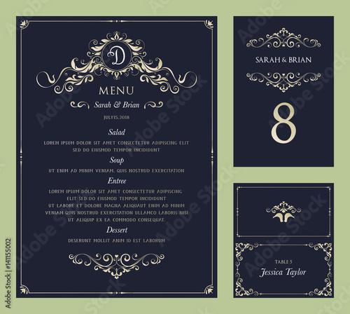 Ornate vintage vector templates set. Wedding menu, table number and name place card design.