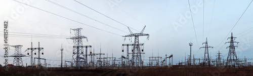 Evening panorama of high voltage substation - 141157482