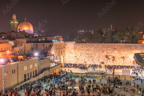 Western wall at night in Jerusalem Old City, Israel. Poster
