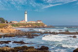 Pigeon Point Lighthouse on Pacific Coast of California. Seascape.