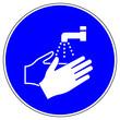 Leinwandbild Motiv shas509 SignHealthAndSafety shas - German / Gebotszeichen: Hände waschen - Infektionsschutz - Hygiene - Händewaschen - english / mandatory action sign: now wash your hands please - xxl g5121