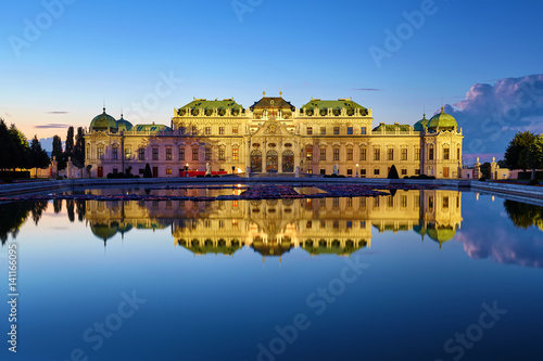 Poster View of Belvedere Palace in Vienna after sunset, Austria