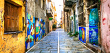 Colorful old streets with wall drawings in Rethymno, Crete,Greece