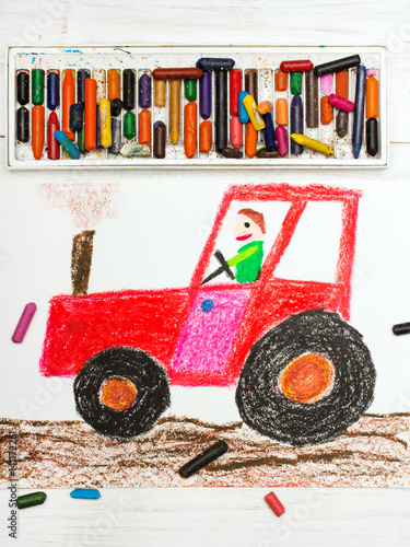 Poster Colorful drawing: man in a red tractor