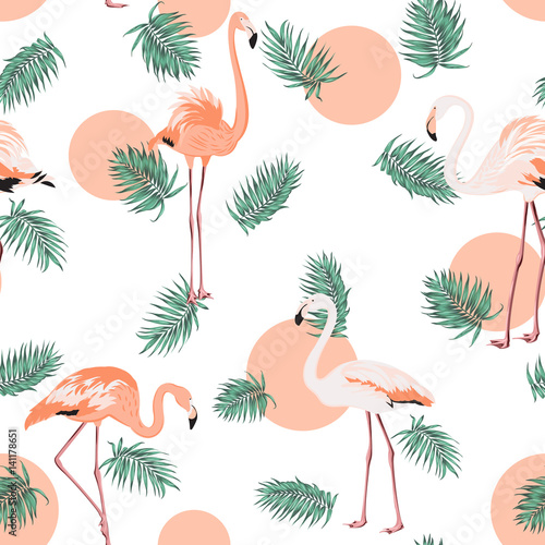 Turquoise blue green tropical jungle palm tree leaves. Exotic flamingo wading birds. Red pink sun circle dot. Seamless pattern texture on white background. - 141178651