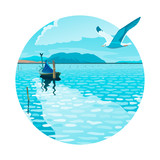 Sea landscape with a fishing boat and a seagull vector illustration