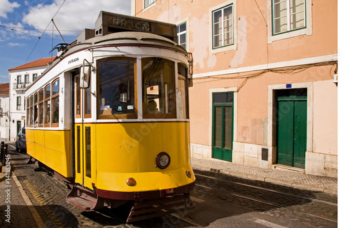 Poster Historic trolley car in downtown Lisbon, Portugal