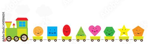 edukacyjny pociąg z figurami geometrycznymi dla dzieki / ilustracja wektorowa