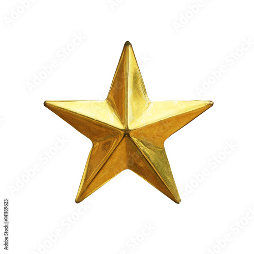 Golden star review or rating isolated on white background Poster