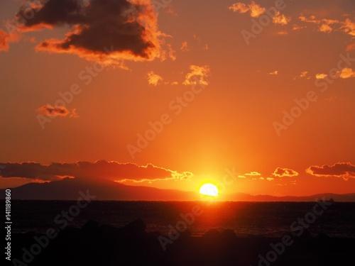Papiers peints Orange eclat 房総半島の夕景