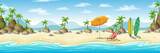 Fototapety Illustration of a tropical coastal landscape with deckchair, umbrella and surfboard